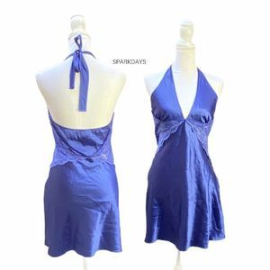 Frederick's Blue Satin Halter Lingerie Dress | L